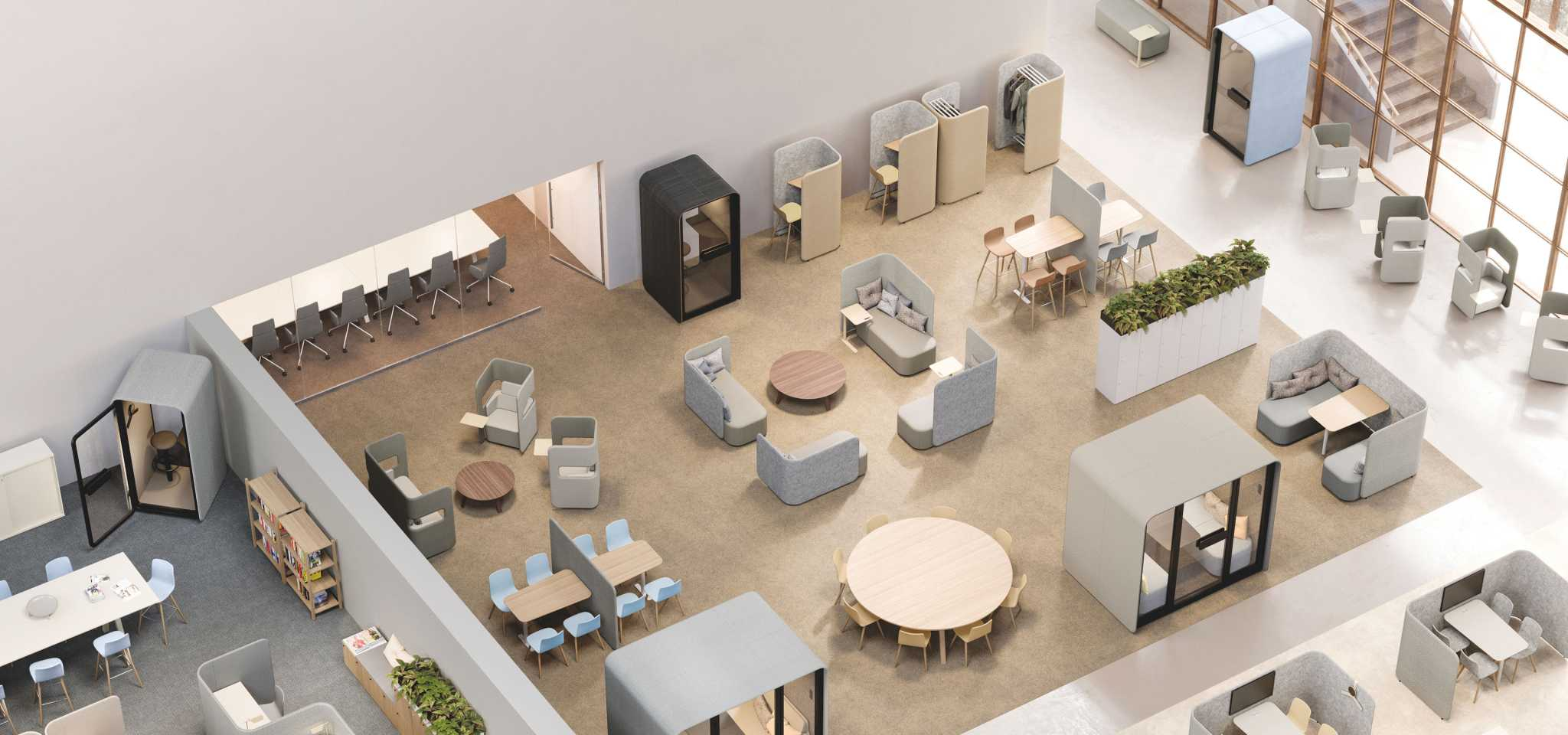 Activity based office made with Pod family by Martela