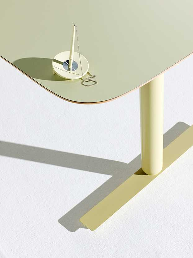Detail of a green Martela desk