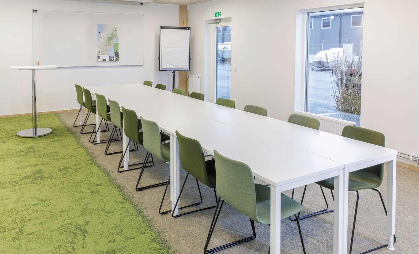 Martela's Sola chairs and Alku & Spot tables at ALFA's head office in Jönköping, Sweden