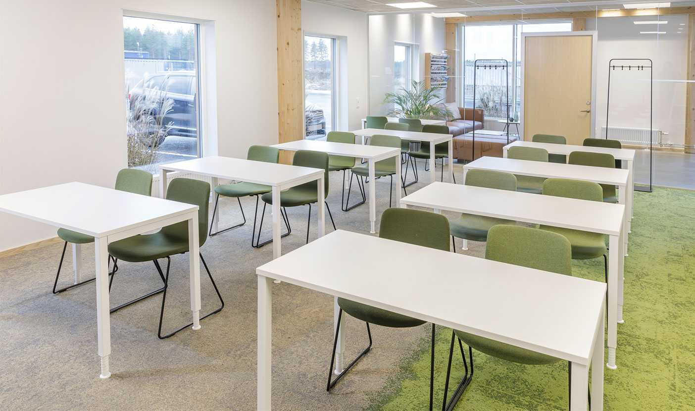Martela's Sola chairs and Alku tables at ALFA's head office in Jönköping, Sweden