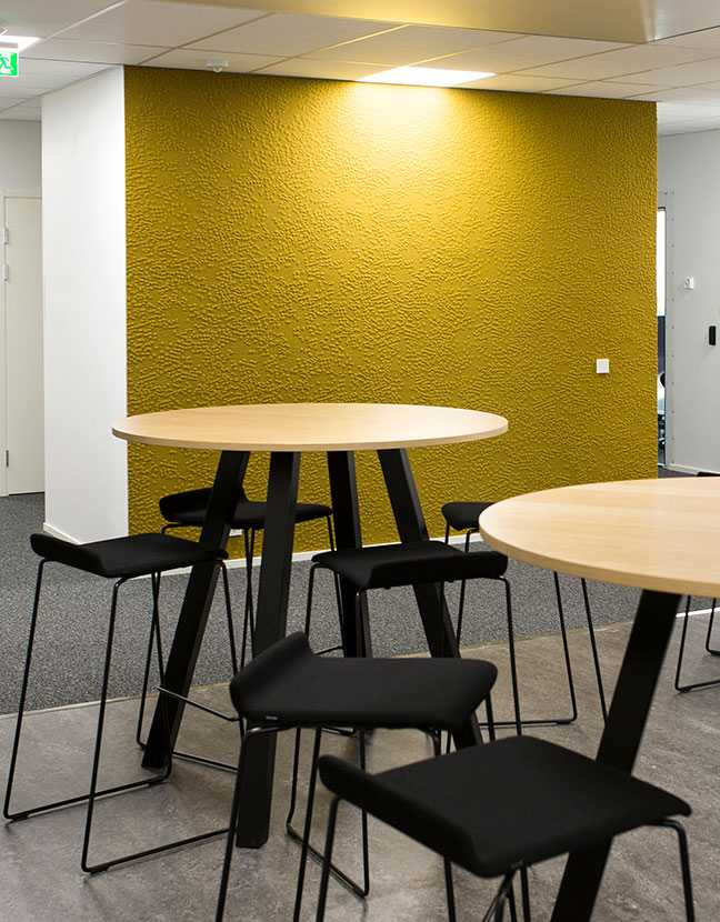 Martela's Form chairs and Frankie tables at Bittium's head office in Oulu, Finland