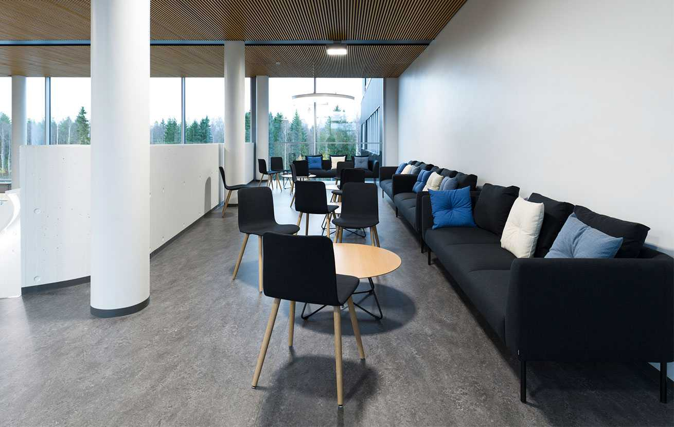 Martela's Nooa sofas, Scoop tables and Sola chairs at Bittium's head office in Oulu, Finland