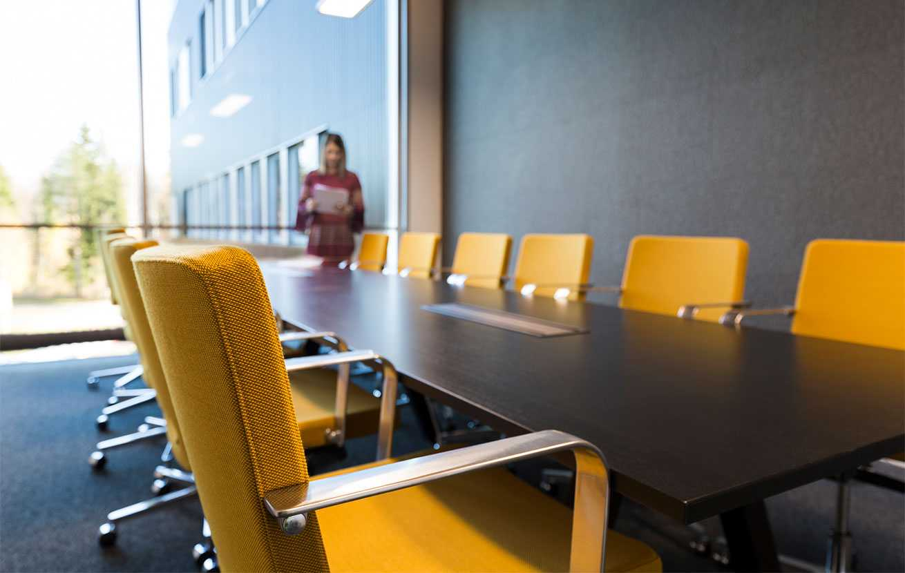 Martela's SoftX chairs and Frankie conference table at Bittium's head office in Oulu, Finland