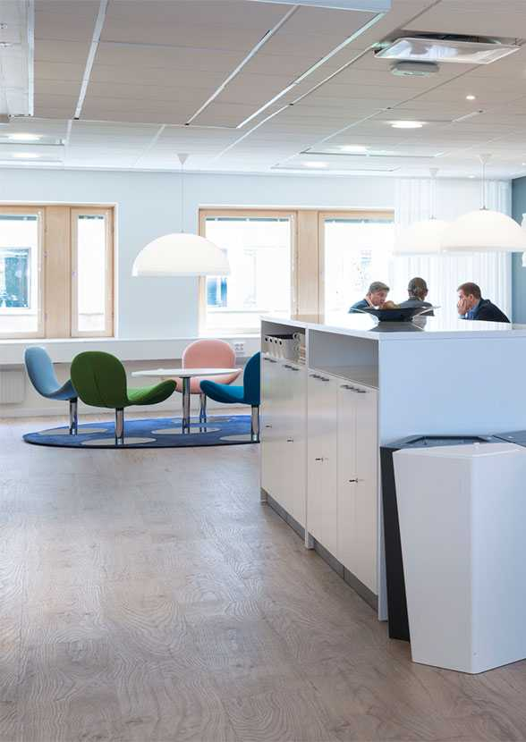 Martela's Fly Me chairs and Spot table at Enfo's office in Stockholm, Sweden