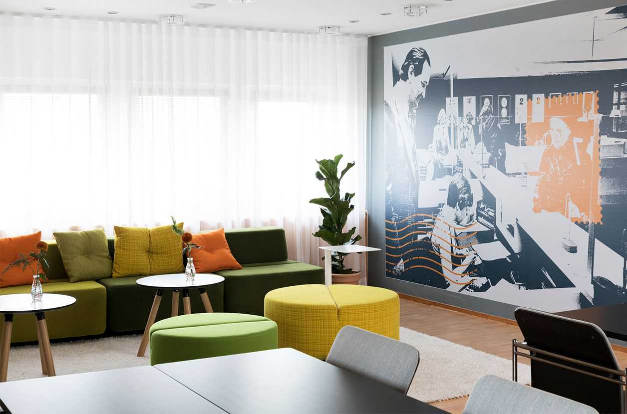 Martela's Movie sofas and benches and Plus+ tables at Post's head office in Helsinki, Finland