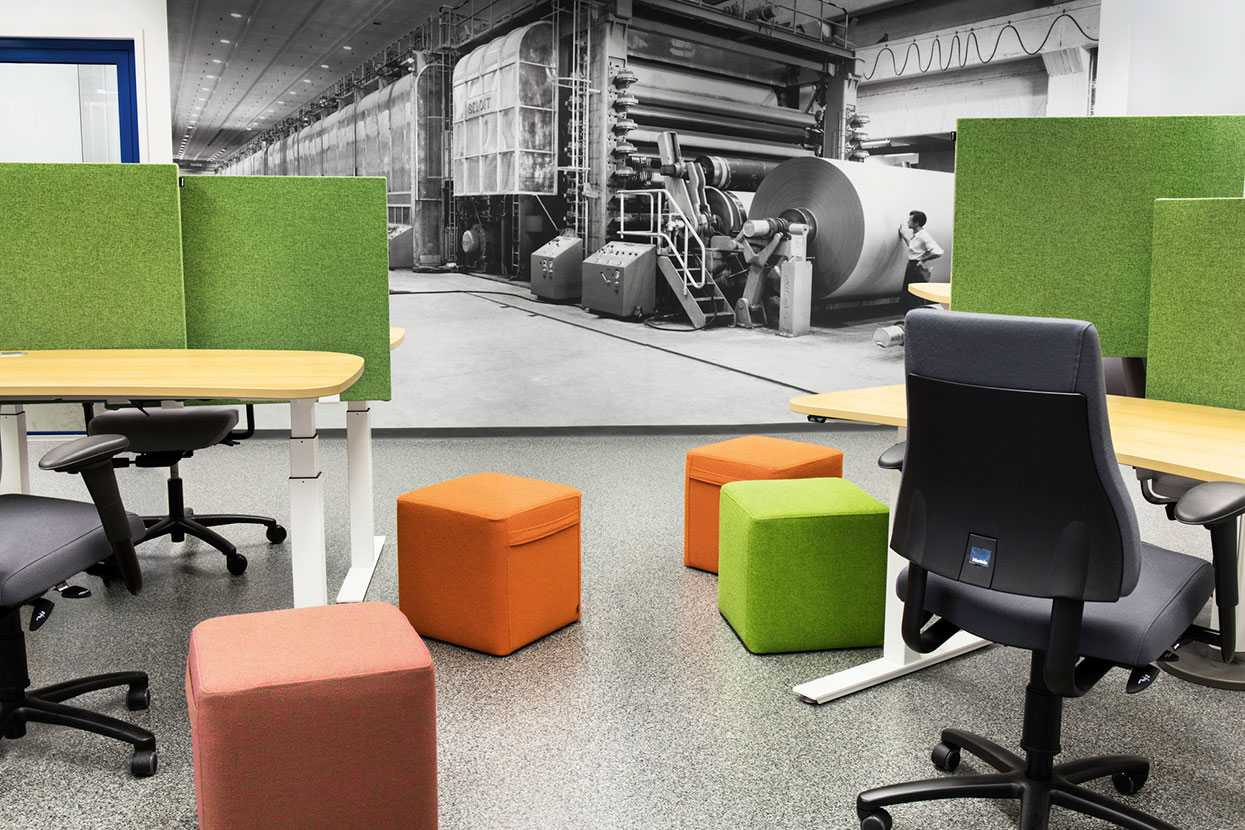 Martela's Bit stools and Face screens at Stora Enso's office in Imatra, Finland