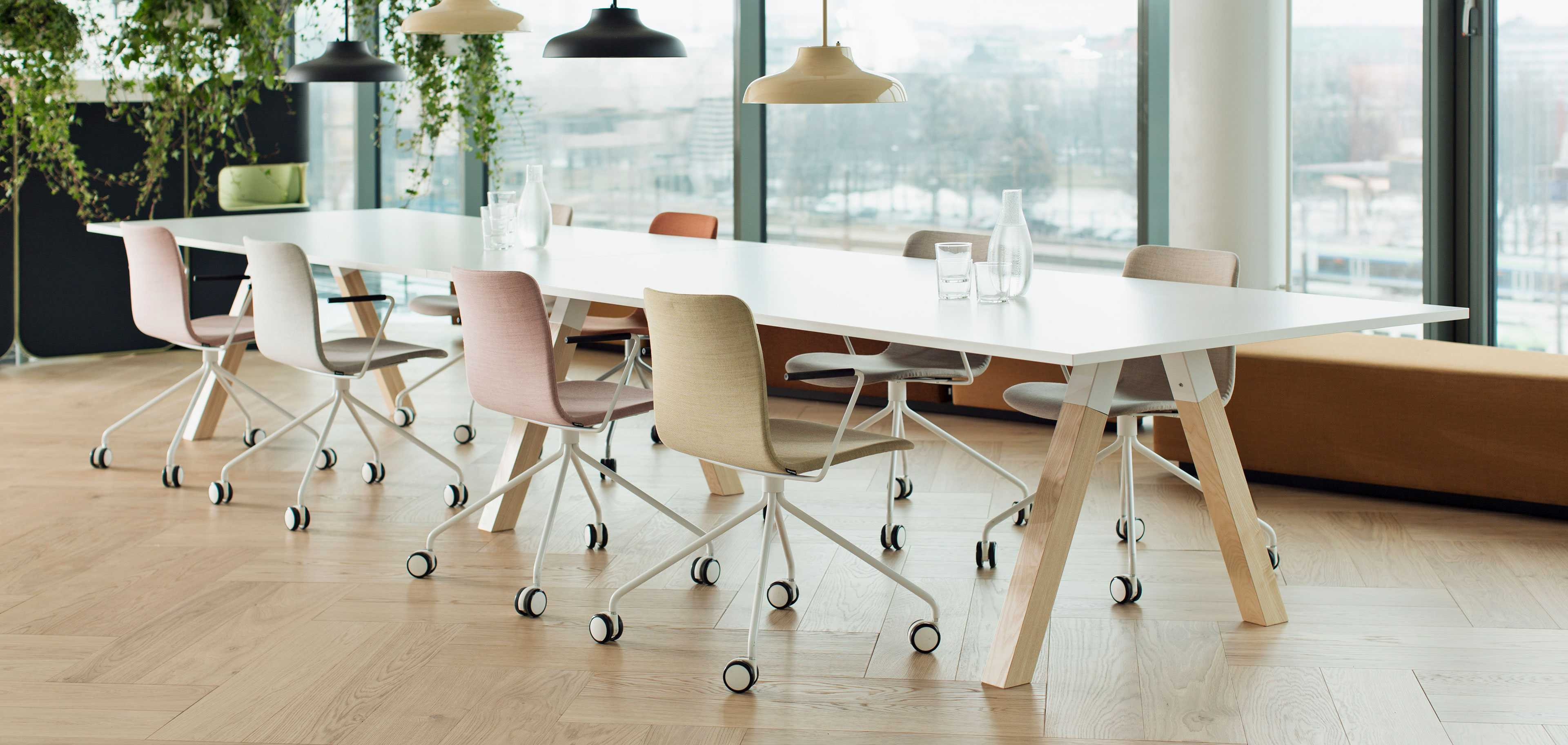A conference table with chairs