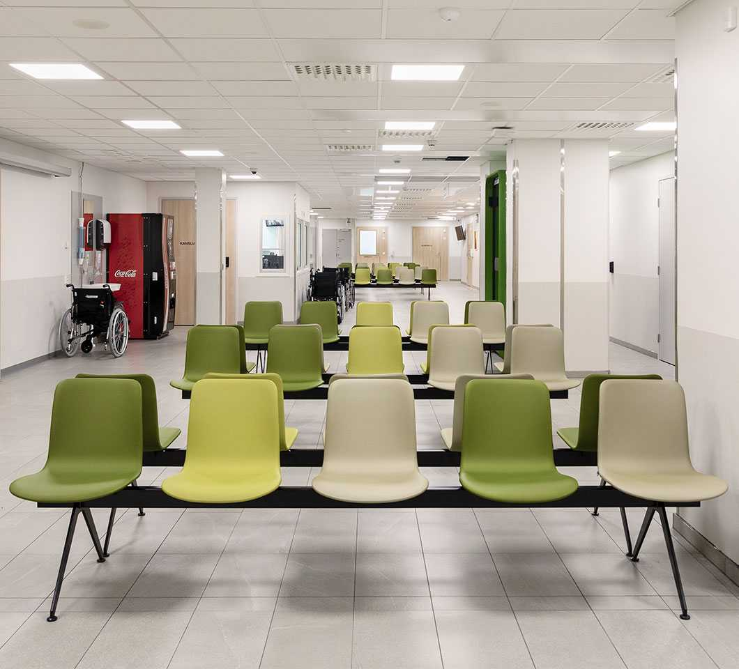 Sola beam chairs in the waiting area of the North Karelia Central Hospital