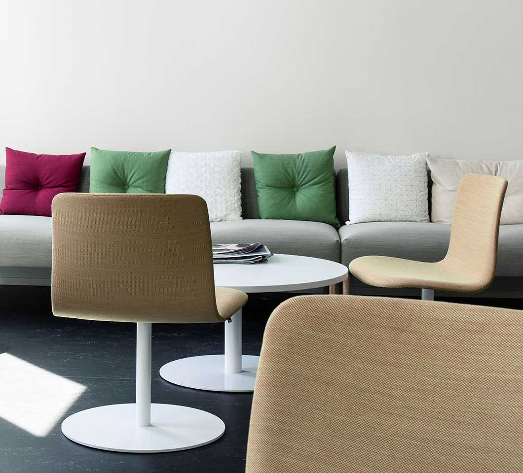 Martela's Sola chairs and Nooa sofa at Solteq's office in Vantaa, Finland