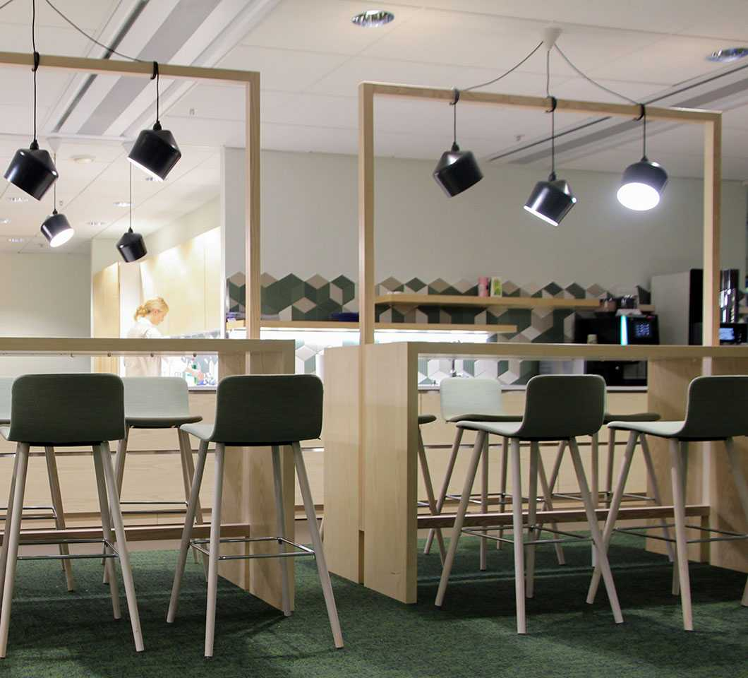 Martela's Sola chairs and Chat tables at Team Finland House in Helsinki