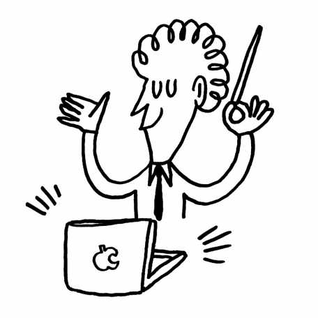 An illustration of a person with a laptop